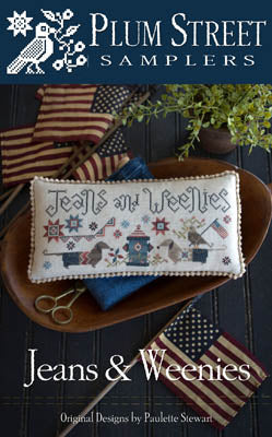 Jeans and Weenies Cross Stitch Pattern | Plum Street Samplers - Blessed Backyard