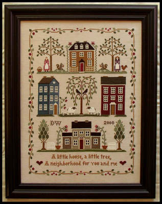 Little House Neighborhood Cross Stitch Pattern | Little House Needleworks - Blessed Backyard