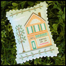 Main Street Coffee Shop Cross Stitch Pattern | Country Cottage Needleworks - Blessed Backyard