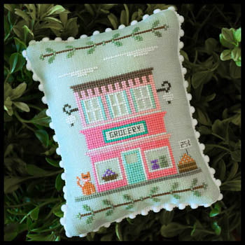 Main Street Grocery Cross Stitch Pattern | Country Cottage Needleworks - Blessed Backyard