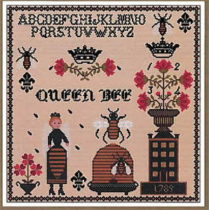 Queen Bee Sampler Cross Stitch Pattern | Twin Peak Primitives - Blessed Backyard