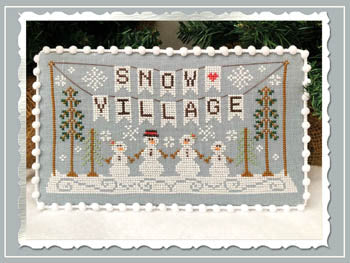 Snow Village 1 - Banner Cross Stitch Pattern | Country Cottage Needleworks - Blessed Backyard