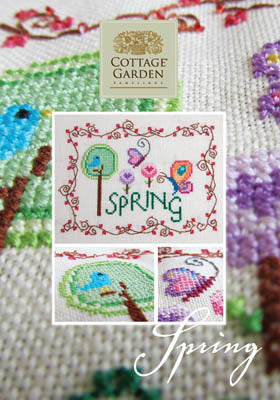 Spring Cross Stitch Pattern | Cottage Garden Samplings - Blessed Backyard