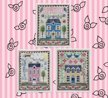 Spring House Trio Cross Stitch Pattern | Waxing Moon Designs - Blessed Backyard