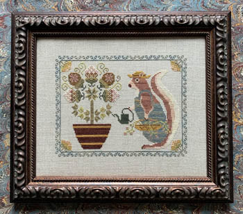 Spring Squirrel Cross Stitch Pattern | The Blue Flower - Blessed Backyard