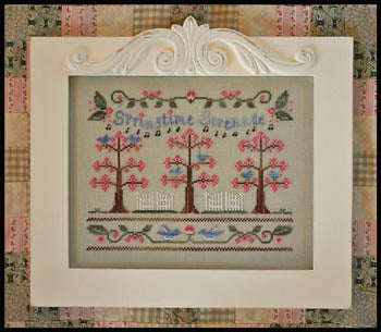Springtime Serenade Cross Stitch Pattern | Country Cottage Needleworks - Blessed Backyard