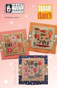 Square Dance (April-June) Cross Stitch Pattern | Heart in Hand Needleart - Blessed Backyard