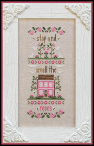 Stop & Smell the Roses Cross Stitch Pattern | Country Cottage Needleworks - Blessed Backyard