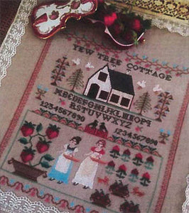 Strawberry Picking Cross Stitch Pattern | Twin Peak Primitives - Blessed Backyard