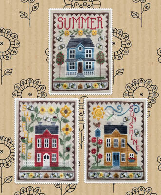 Summer House Trio Cross Stitch Pattern | Waxing Moon Designs - Blessed Backyard