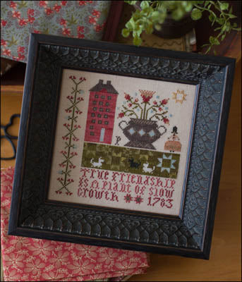 True Friendship (Pat's Sampler) Cross Stitch Pattern | Plum Street Samplers - Blessed Backyard