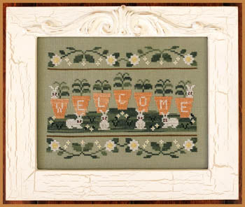 Welcome Spring Cross Stitch Pattern | Country Cottage Needleworks - Blessed Backyard