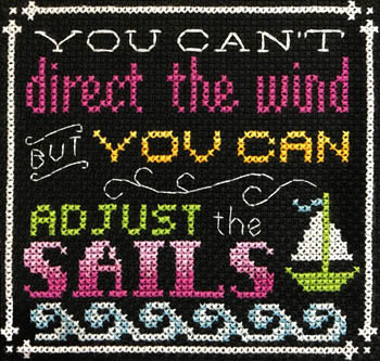 Words to Live By - Part 6:  Go With the Flow Cross Stitch Pattern - Blessed Backyard