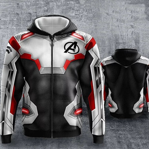 Image of New Avengers 4 Endgame Quantum War Zip Up Hoodies