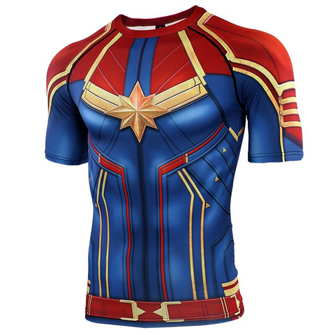 Image of Captain Marvel Cosplay Avengers Movie 3D print Compression T-shirts - Anime Hero Shop