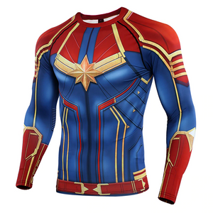 Captain Marvel Cosplay Avengers Movie 3D print Compression T-shirts - Anime Hero Shop