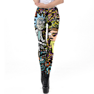 2019 New Body Building Pants Women Rick And Morty Printed Leggings Workout Cartoon Leggin - Anime Hero Shop