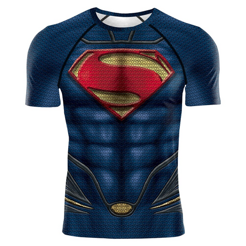 Image of Superman Man of Steel DC Superhero 3D Print Compression T-shirts - Anime Hero Shop