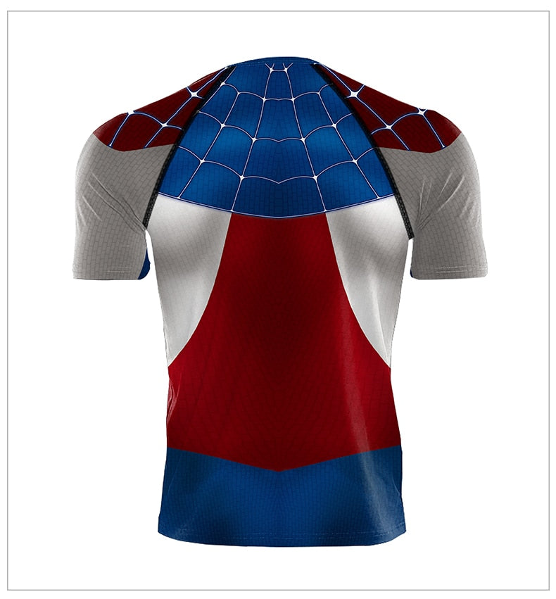 Captain America Spiderman 3D Printed Compression T-Shirts Superhero Cosplay Tops - Anime Hero Shop