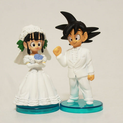 Image of 2pcs/set Anime Cartoon Dragon Ball Goku ChiChi Wedding PVC Action Figure 8cm - Anime Hero Shop