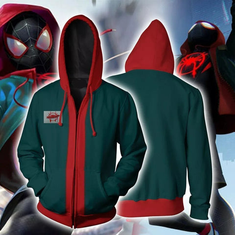 Image of Spider-Man Into the Spider Verse Miles Morales Unisex Zip Up Hoodie - Anime Hero Shop