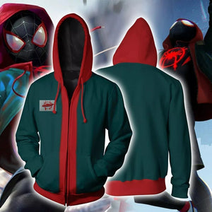 Spider-Man Into the Spider Verse Miles Morales Unisex Zip Up Hoodie - Anime Hero Shop