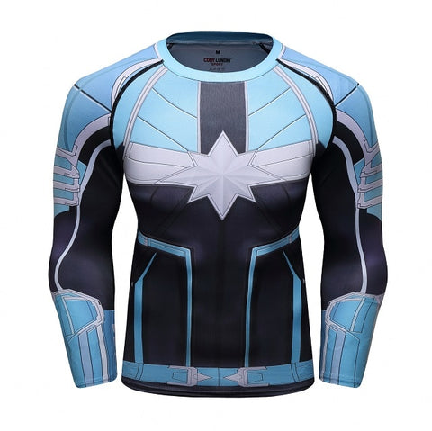Image of Captain Marvel Cosplay Avengers Endgame Movie Compression T-shirts - Anime Hero Shop