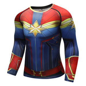 Captain Marvel Cosplay Avengers Endgame Movie Compression T-shirts - Anime Hero Shop