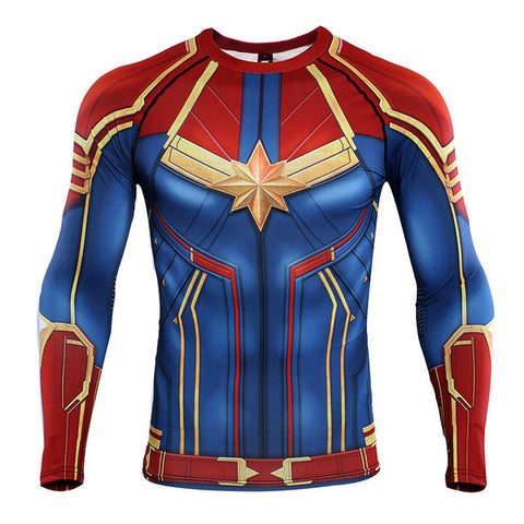 Image of Captain Marvel Carol Danvers Long Sleeve T shirts Cosplay - Anime Hero Shop