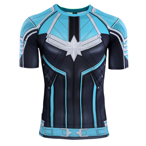 Image of Captain Marvel Carol Danvers Short Sleeve T shirts Cosplay - Anime Hero Shop