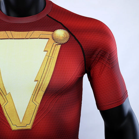 Image of Shazam New 2019 DC Movie  Short Sleeve Compression Shirts - Anime Hero Shop