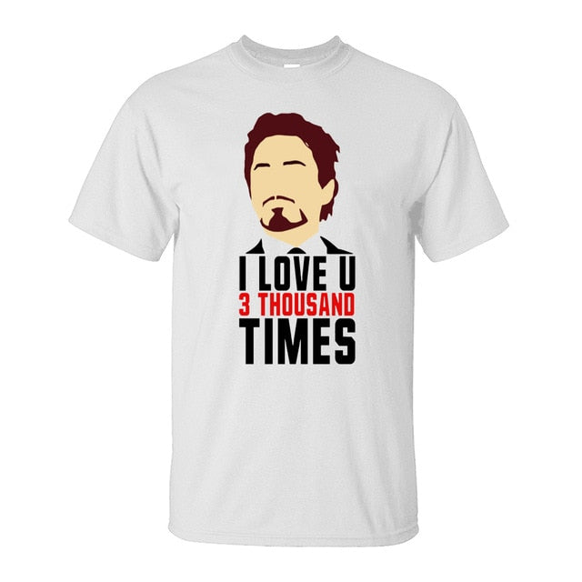 Avengers Endgame Tony Stark I Love You 3 Thousand Times Iron Man Cotton T-Shirts