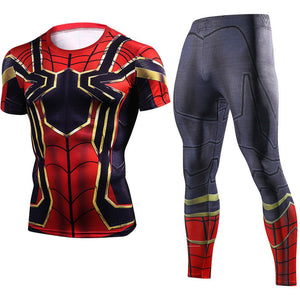 Black Panther & Iron Spider Sets Compression Crossfit Tops ( Short Sleeve ) - Anime Hero Shop