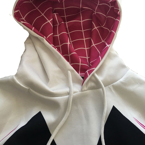 Image of Kids Girls Boys Spider-Man Gwen Stacy Cosplay Costumes Hoodie 3D Spider Verse Mile Sweatshirts Fashion Pullover Tops Clothing - Anime Hero Shop