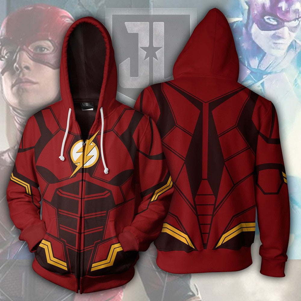 DC Justice League The Flash Zip Up Hoodie