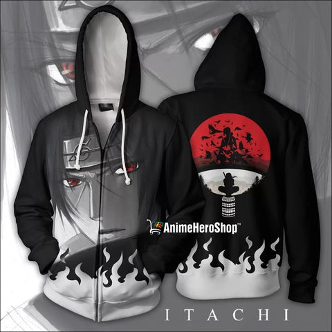 Uchiha Itachi Thin Zip Up Hoodie - Anime Hero Shop