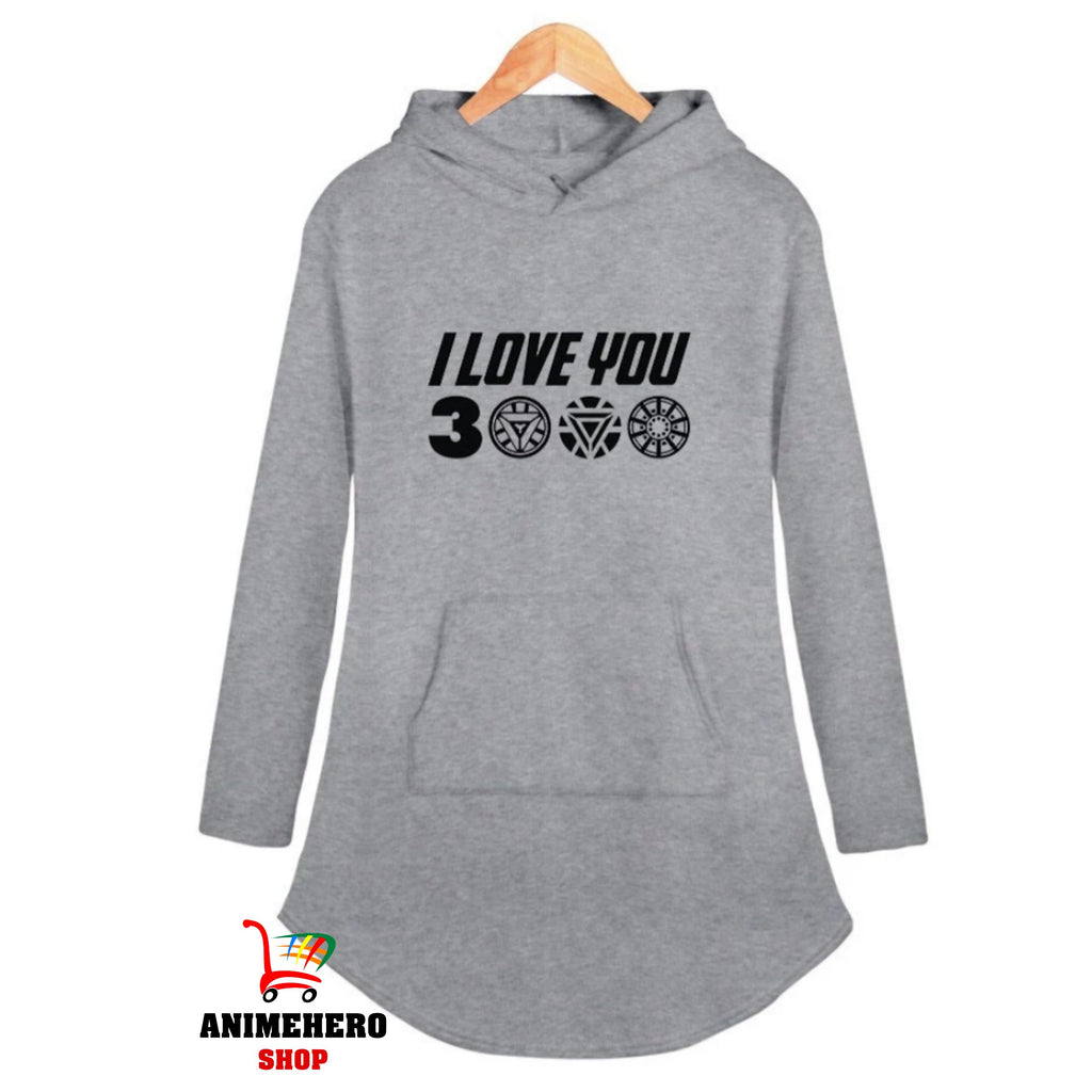 Avengers Endgame Hooded Dress Sexy Casual I Love You 3000 Sexy Dress Party - Anime Hero Shop