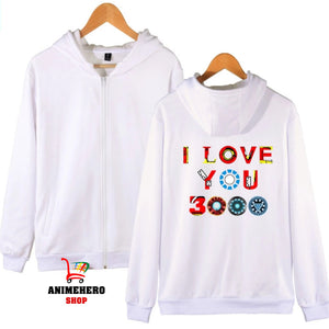 Avengers Endgame Zipper Hoodie I Love You 3000 Unisex Sweatshirt Autumn - Anime Hero Shop