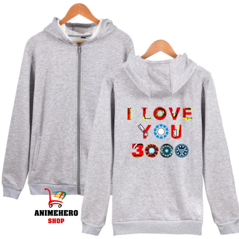 Image of Avengers Endgame Zipper Hoodie I Love You 3000 Unisex Sweatshirt Autumn - Anime Hero Shop