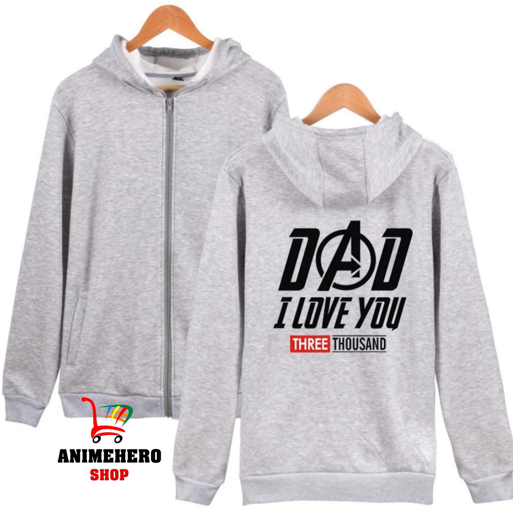 Avengers 4 Tony Stark Zipper Hoodie Dad I Love You 3000 Unisex Sweatshirt Autumn