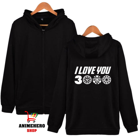 Image of Avengers Endgame Iron Man Zipper Hoodie I Love You 3000 Unisex Sweatshirt - Anime Hero Shop
