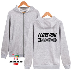 Avengers Endgame Iron Man Zipper Hoodie I Love You 3000 Unisex Sweatshirt - Anime Hero Shop