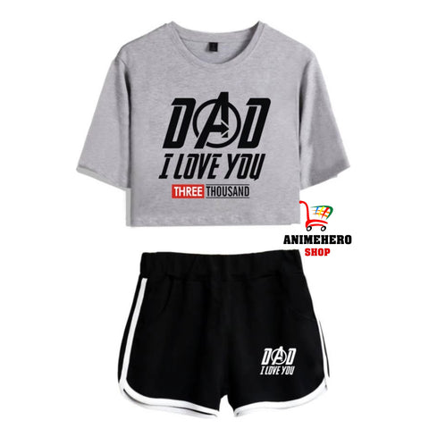 I Love You 3000 Two Piece Set Female Summer T-Shirts Crop Top Sexy Fitness Sporting Top - Anime Hero Shop