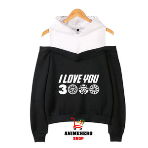 Avengers Endgame I Love You 3000 Off Shoulder Hoodies Long Sleeve Pullover Kawaii - Anime Hero Shop