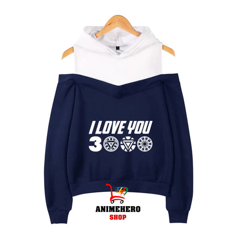Image of Avengers Endgame I Love You 3000 Off Shoulder Hoodies Long Sleeve Pullover Kawaii - Anime Hero Shop