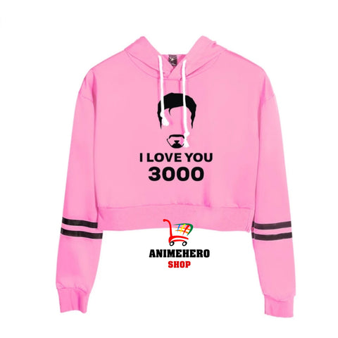 Avengers Endgame I Love You 3000 Sexy Top Spring Section Hoodie Crop Top Women
