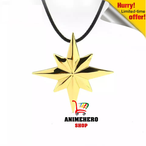 Image of Avengers 4 Captain Marvel Necklace Gold Color Star Pendant with Leather Chain - Anime Hero Shop