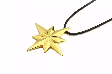 Avengers 4 Captain Marvel Necklace Gold Color Star Pendant with Leather Chain - Anime Hero Shop