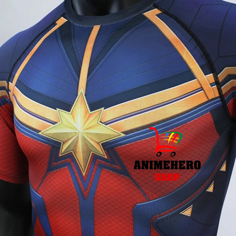 Image of Captain Marvel Cosplay Avengers Endgame Movie Compression T-shirts & Pants - Anime Hero Shop