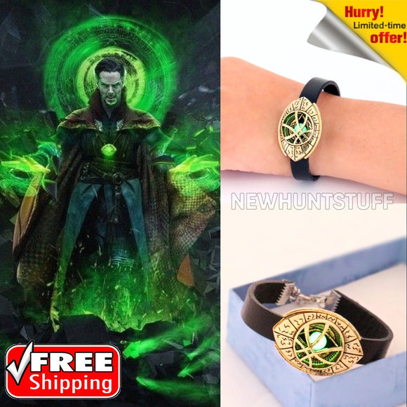 Doctor Strange Glow in Dark Eye Symbol Leather Bracelet Unisex Bangle